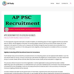APPSC Recruitment Tests to Go Digital via Tablets