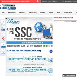 SSC- CHSL RECRUITMENT EXAM 2015