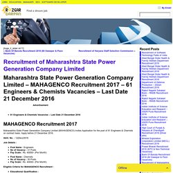 Recruitment of Maharashtra State Power Generation Company Limited- Rozgar darpan