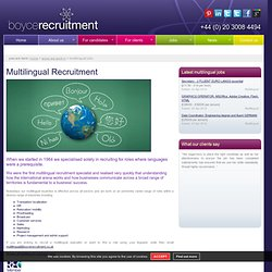 Language Recruitment – Bilingual & Multilingual Jobs in London from Boyce Recruitment