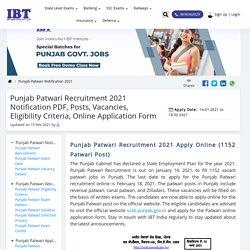 Punjab Patwari Recruitment 2021 Notification PDF, Exam Date, Eligibility Criteria & Pattern