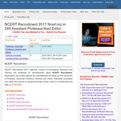 NCERT Recruitment 2017 ncert.nic.in Assistant Editor Vacancies Advt Apply