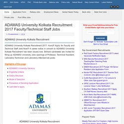 ADAMAS University Kolkata Recruitment