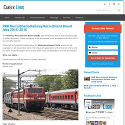 RRB Recruitment-Railway Recruitment Board Jobs 2015-2016
