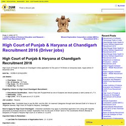 High Court of Punjab & Haryana at Chandigarh Recruitment 2016 (Driver jobs)- Rozgardarpan
