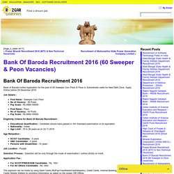 Bank Of Baroda Recruitment 2016 (60 Sweeper & Peon Vacancies)- Rozgardarpan