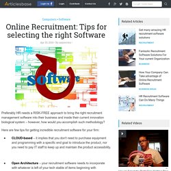 Online Recruitment: Tips for selecting the right Software