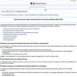 Recrutement d'un agent contractuel dans la fonction publique d'État (FPE)