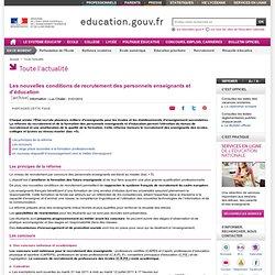 Les nouvelles conditions de recrutement des personnels enseignants et d'éducation