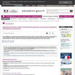 Sujets des épreuves écrites et rapports des jurys des concours de recrutement de professeurs des écoles