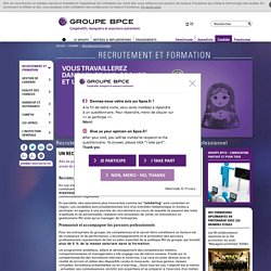 Recrutement et formation - Groupe BPCE