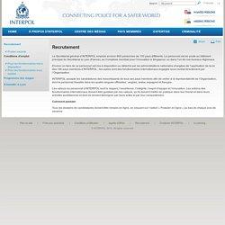 Recrutement / Internet / Accueil - INTERPOL