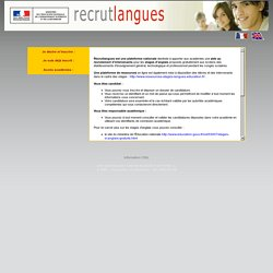 Recrutement d'intervenants en langue anglaise