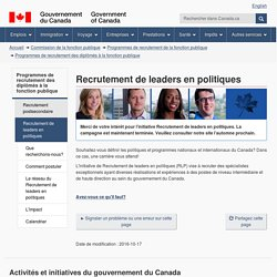 Recrutement de leaders en politiques - Canada.ca