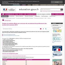 Postes et contrats offerts aux concours de recrutement de professeurs des écoles