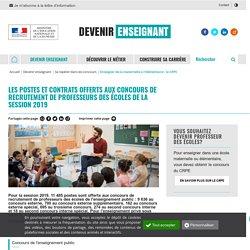 Postes et contrats offerts aux concours de recrutement de professeurs des écoles - Devenir enseignant