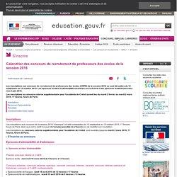 Calendrier des concours de recrutement de professeurs des écoles