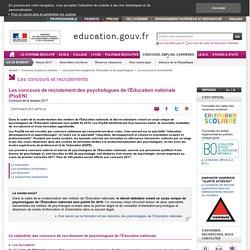 Les concours de recrutement des psychologues de l'Éducation nationale