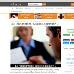 Le recrutement : quelle législation ?