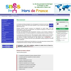 Recrutement - SNES HORS DE FRANCE