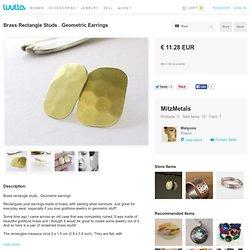 Brass Rectangle Studs . Geometric Earrings on Luulla
