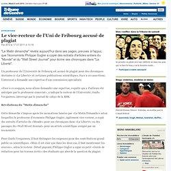 Le vice-recteur de l'Uni de Fribourg accusé de plagiat