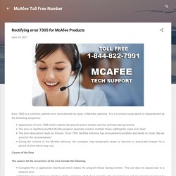 Rectifying error 7305 for McAfee Products