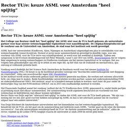 """Rector TU/e: keuze ASML voor Amsterdam """"heel spijtig"""""""