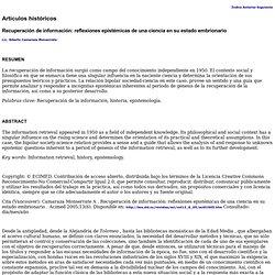 Recuperación de información: reflexiones epistémicas de una ciencia en su estado embrionario