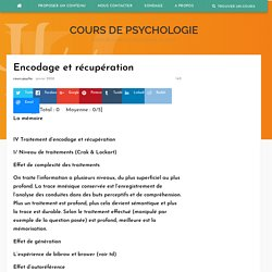 Encodage et récupération – Cours de psychologie