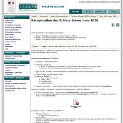 Récupération des fichiers élèves dans BCDI