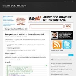 Récupération et validation des mails avec PHP chez Maxime DOKI