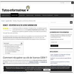 OemKey - Récupérer sa clé de licence Windows OEM