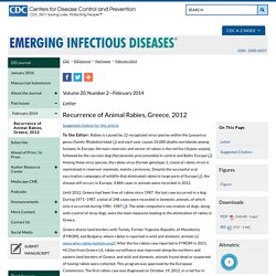 CDC EID - FEV 2014 - Au sommaire : Recurrence of Animal Rabies, Greece, 2012