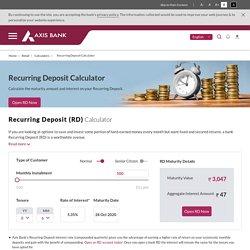 Recurring Deposit (RD) Calculator – Axis Bank