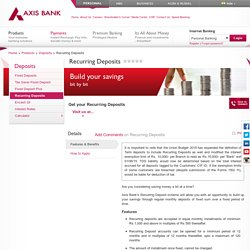 Recurring Deposit Interest Rates - Axis Bank