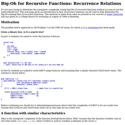 Big-Oh for Recursive Functions: Recurrence Relations