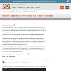 Initiation à la récursivité en PHP : notions, mise en œuvre et utilisation