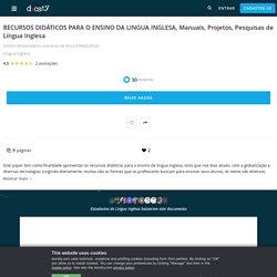 RECURSOS DIDÁTICOS PARA O ENSINO DA LINGUA INGLESA