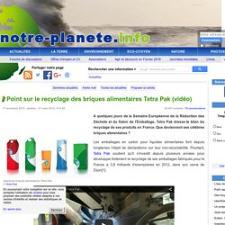 Point sur le recyclage des briques alimentaires Tetra Pak
