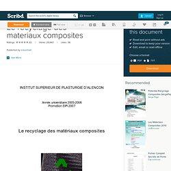 Le recyclage des materiaux composites - 2005