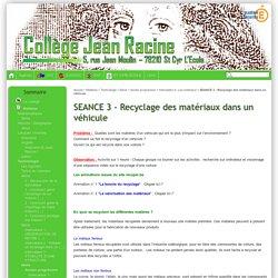 SEANCE 3 - Recyclage des matériaux dans un véhicule - Collège Jean Racine