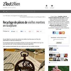 Recyclage de pièces de vieilles montres en sculpture
