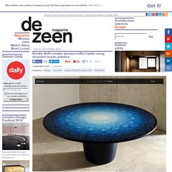 Recycled ocean plastics create terrazzo effect in Gyro table by Brodie Neill