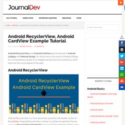 Android RecyclerView, Android CardView Example Tutorial - JournalDev