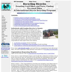 Recycling Bicycles: Donating Used Bikes and Parts, Finding Pre-owed Bikes  & International Bicycle Recycling Programs
