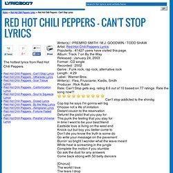cant stop текст песни red hot chilli:
