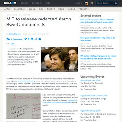 MIT to release redacted Aaron Swartz documents