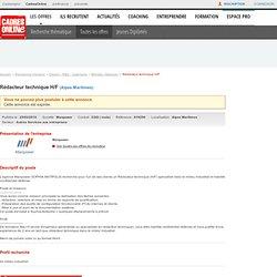 Offre d'emploi Rédacteur technique h/f CDD sur CadresOnline