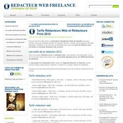 Tarifs Rédacteurs Web et Rédacteurs Print 2012
